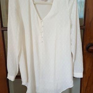Loft Maternity clip dot  long-sleeve vneck  blouse